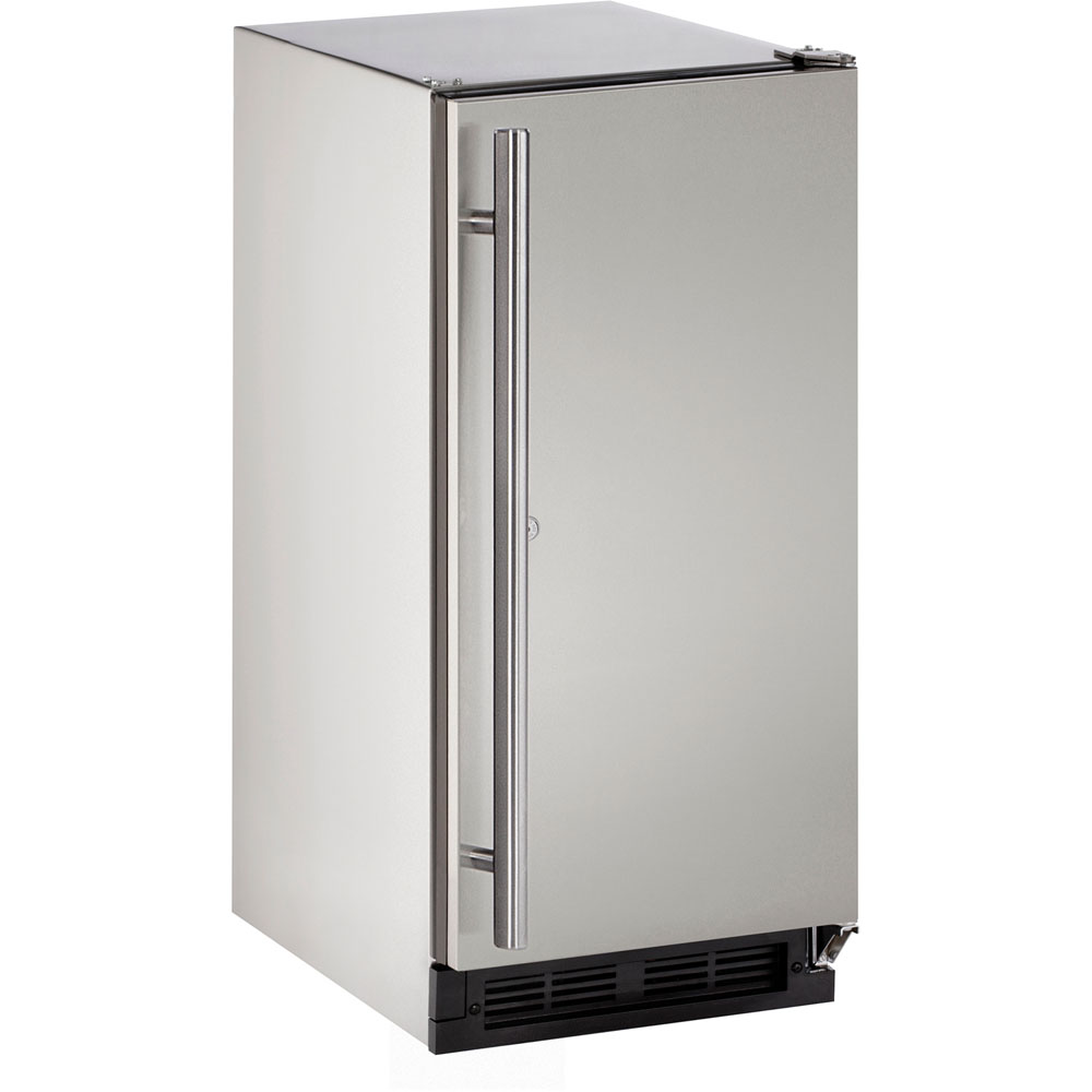 U-Line 15-In. Outdoor Series Stainless Solid Door Refrigerator with Reversible Door Hinge with Lock