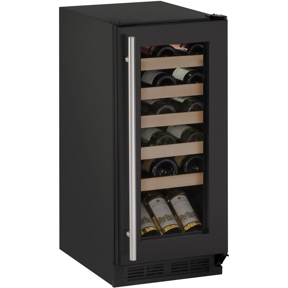 U-Line 15-In. 1000 Series Black Frame Wine Captain with Reversible Hinge Door