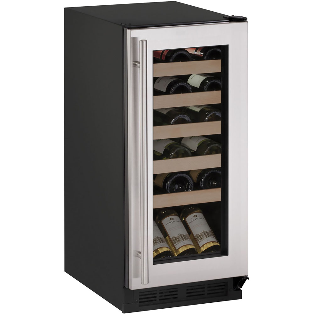 U-Line 15-In. 1000 Series Stainless Frame Wine Captain with Reversible Hinge Door
