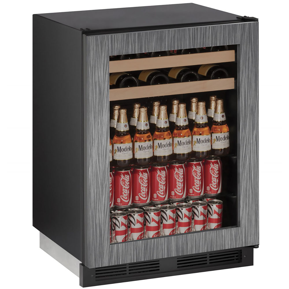 U-Line 24-In 1000 Series Integrated Frame Beverage Center with Reversible Door Hinge