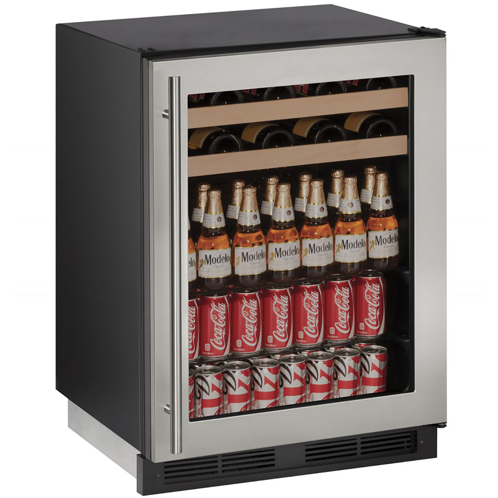 U-Line 24-In 1000 Series Stainless Frame Beverage Center with Reversible Door Hinge