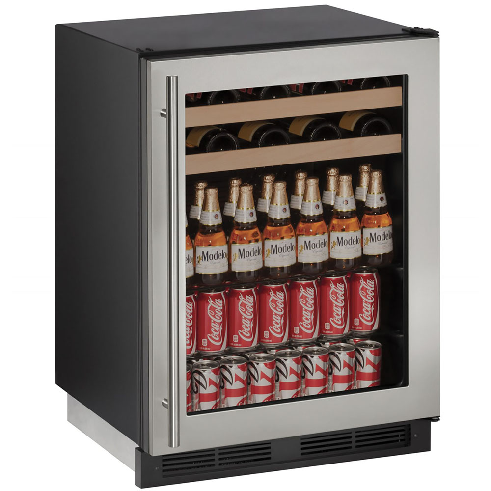 U-Line 24-In 1000 Series Stainless Frame Beverage Center with Reversible Door Hinge and Lock