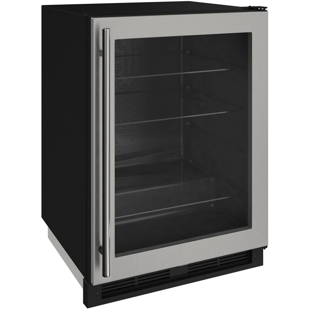 "U-Line 24"" 1000 Series Stainless Steel Glass Door Refrigerator"