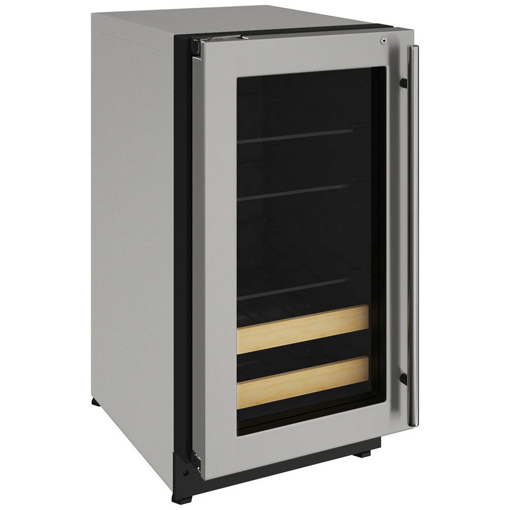 """U-Line 18"""" 2000 Series Beverage Center- Left Hinged Stainless Frame with Lock"""