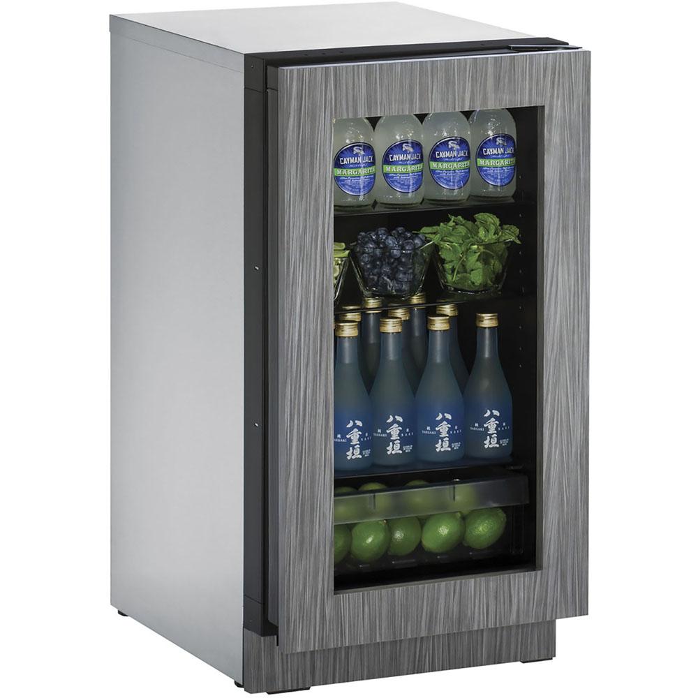 U-Line 18-In. 2000 Series Integrated Frame Glass Door Refrigerator with Reversible Door Hinge