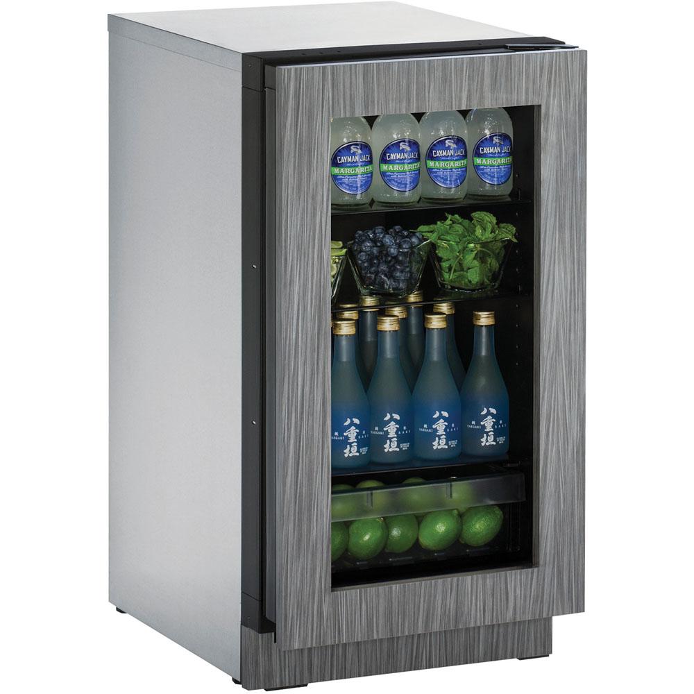 U-Line 18 In. 2000 Series Glass Door Refrigerator - Integrated Frame Door with Right-Hand Hinge