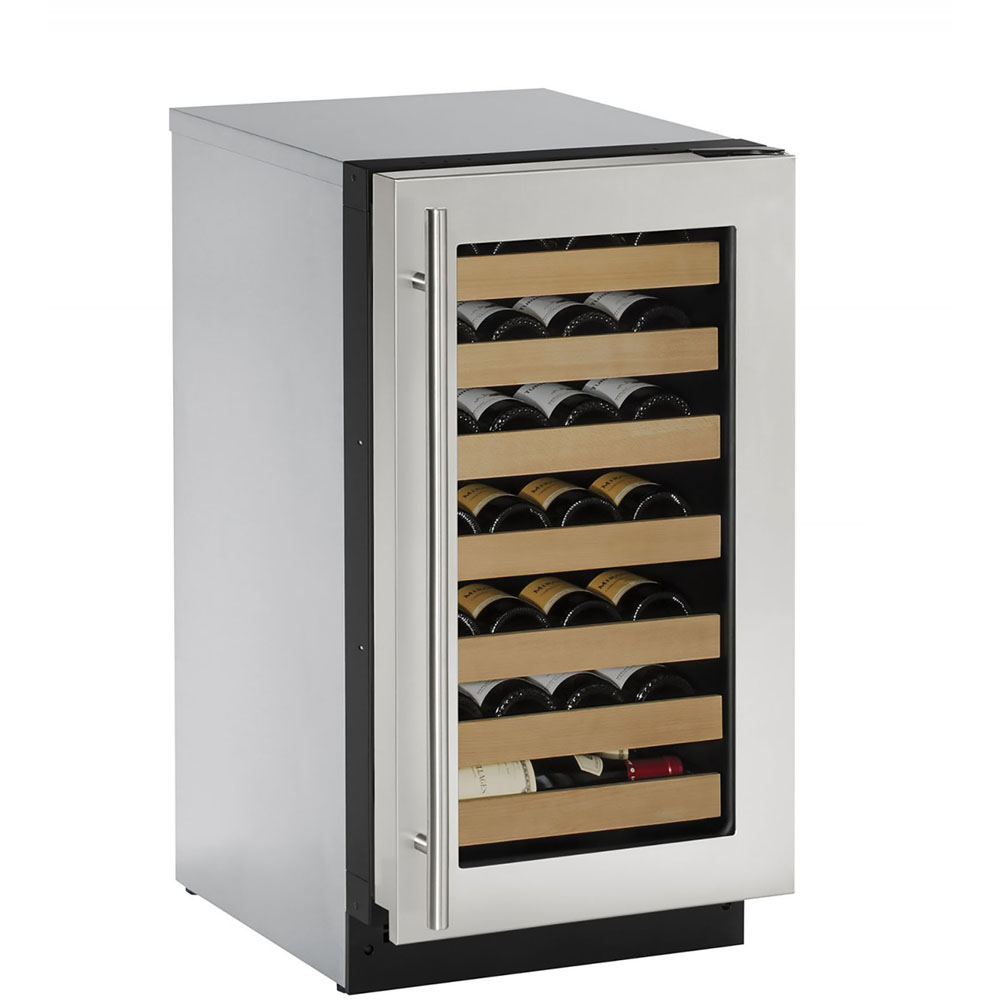 U-Line 18-In. 2000 Series Stainless Frame Wine Captain with Reversible Door Hinge
