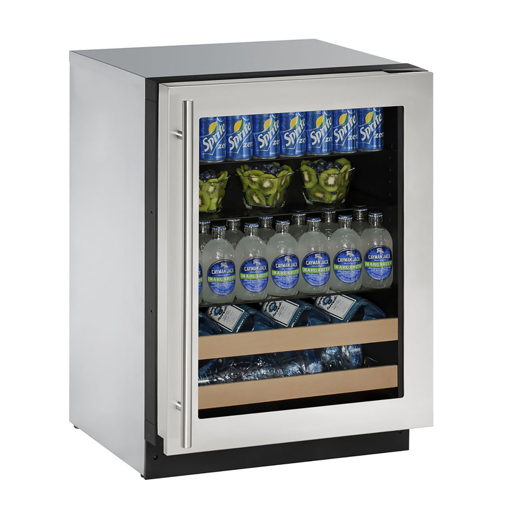 U-Line 24-In. 2000 Series Stainless Frame Beverage Center with Reversible Door Hinge