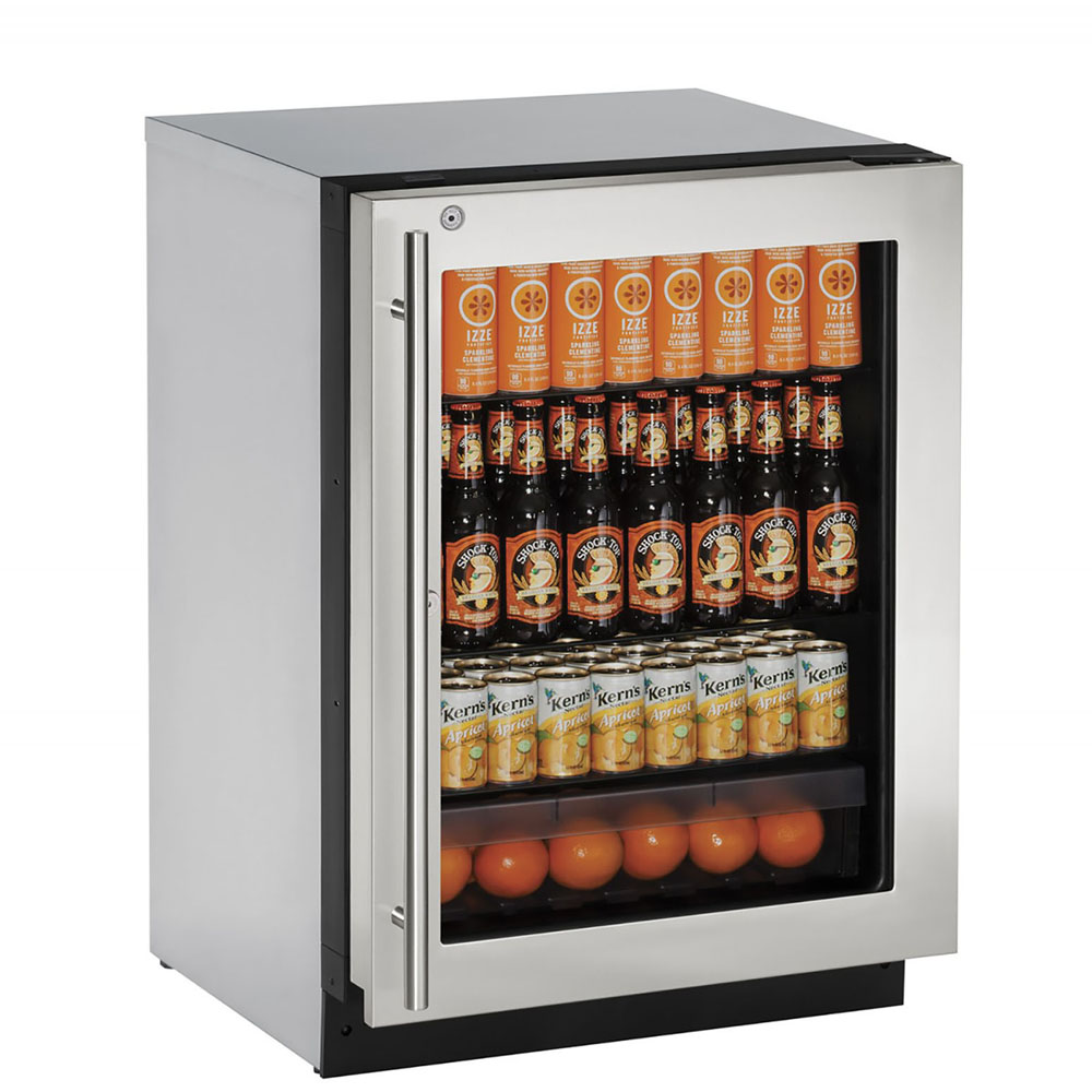 U-Line 24-In. 2000 Series Right-Handed Stainless Frame Glass Door Refrigerator with Lock