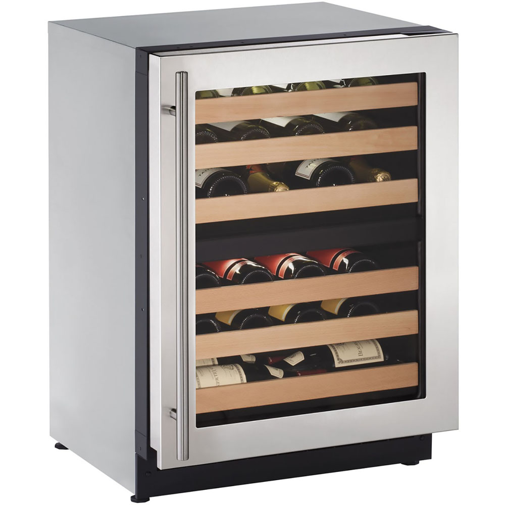 U-Line 24-In. 2000 Series Stainless Frame Wine Captain with Reversible Door Hinge
