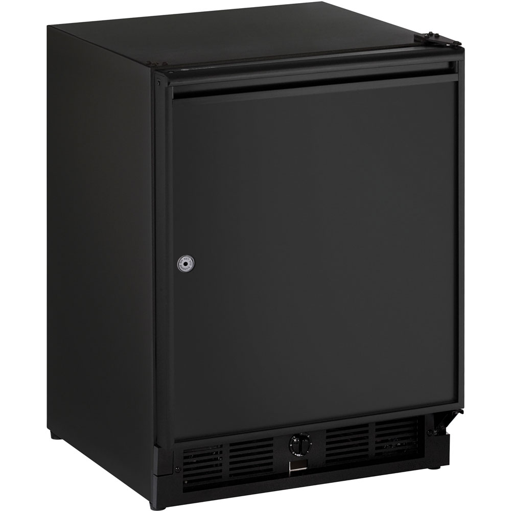 U-Line 21-In. Black Solid Door Refrigerator with Right-Hand Hinge and Lock