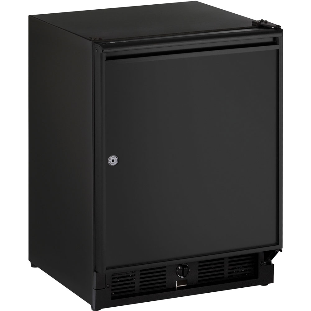 U-Line 21-In. Black Solid Door Refrigerator with Left-Hand Hinge and Lock