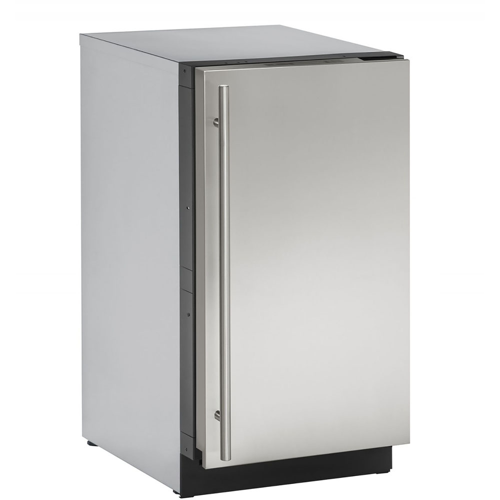 Model: U-3018CLRS-40B | U-Line 18-In. 3000 Series Stainless Solid Clear Ice Machine with Reversible Door Hinge and Pump