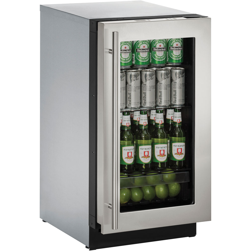 U-Line 18-In. Modular 3000 Series Stainless Frame Glass Door Refrigerator with Left-Hand Hinge