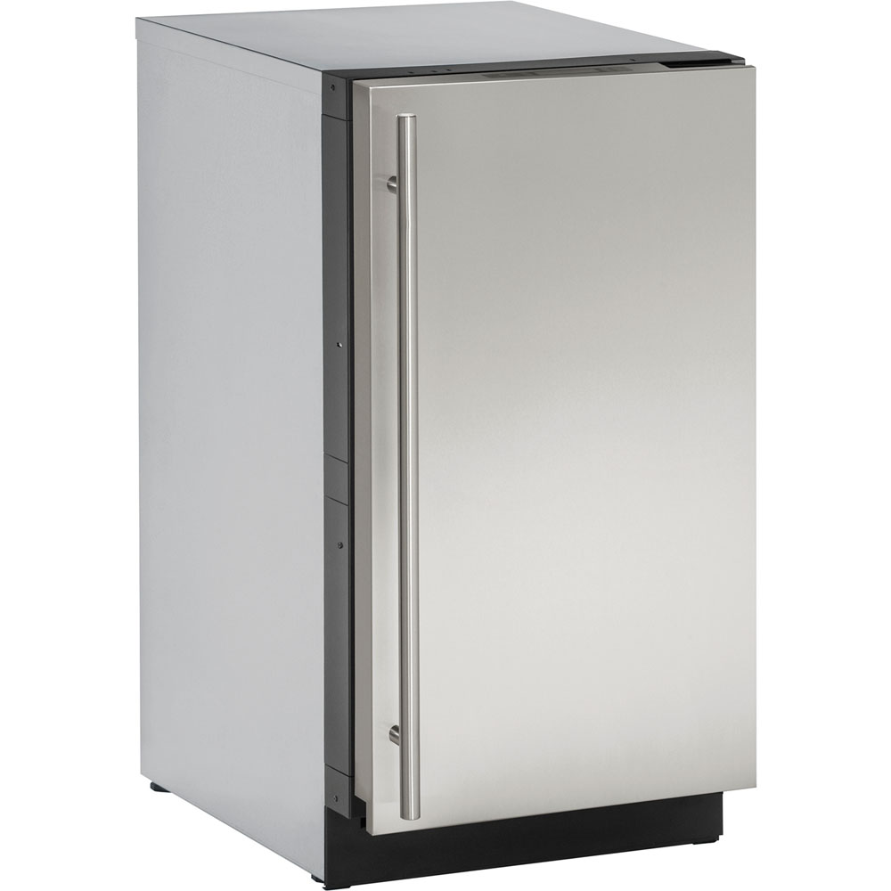 18-In. Modular 3000 Series Stainless Solid Glass Door Refrigerator with Left-Hand Hinge