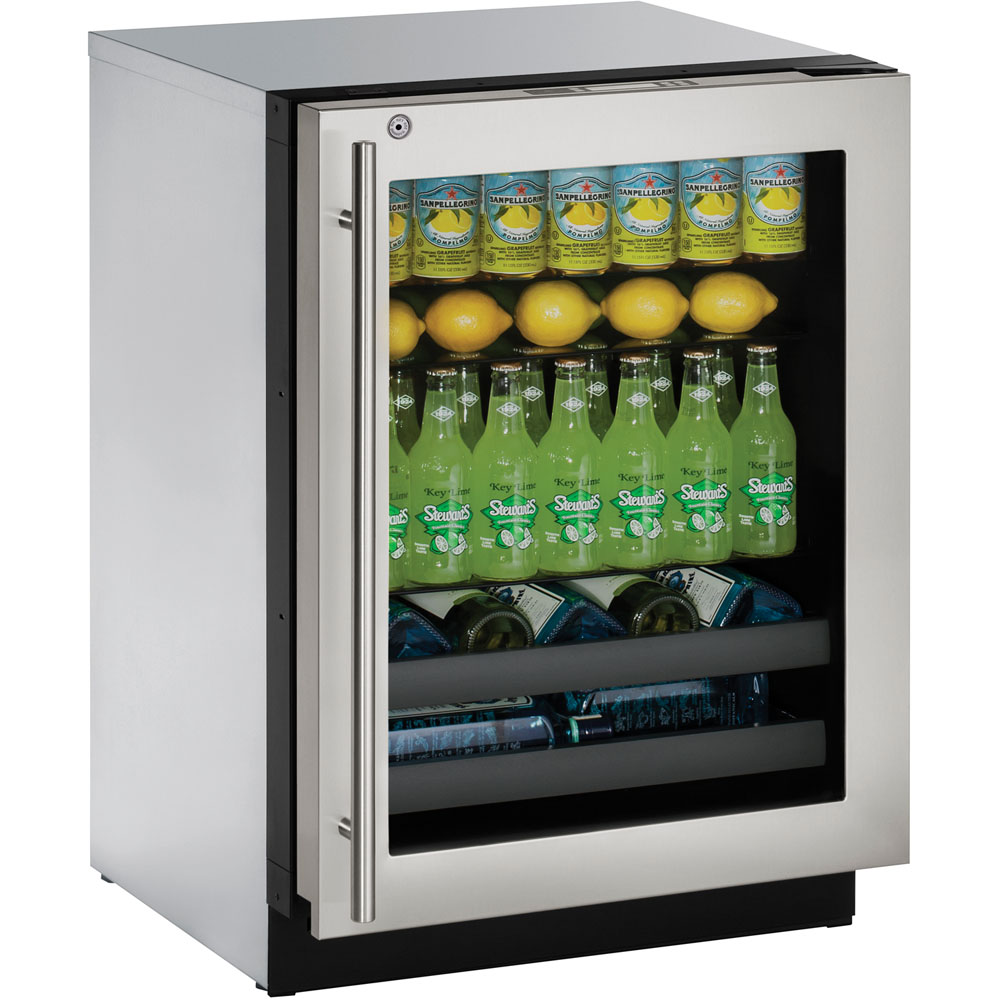 U-Line 24-In. Modular 3000 Series Beverage Center with Stainless Frame Right-Hand Door and Lock