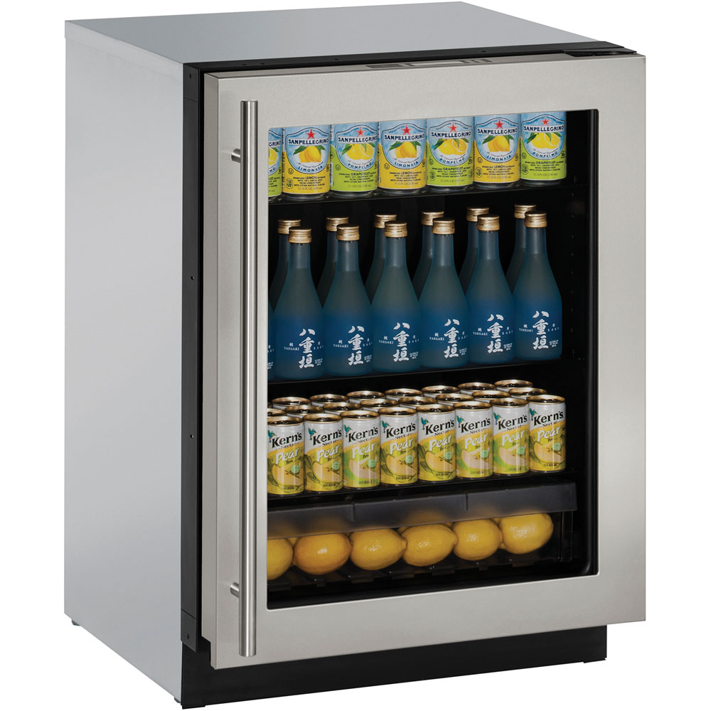24-In. Modular 3000 Series Stainless Frame Glass Door Refrigerator with Left-Hand Hinge