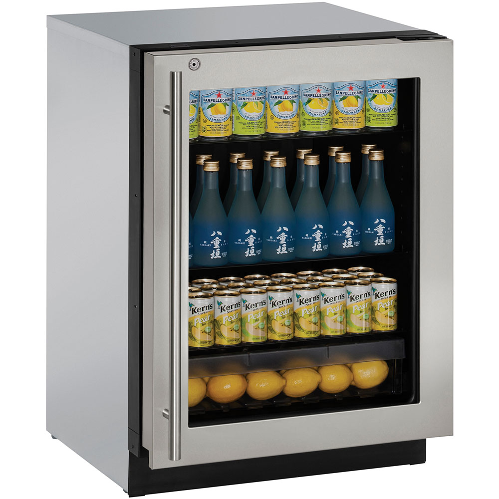 U-Line 24-In. Modular 3000 Series Stainless Frame Glass Door Refrigerator with Right-Hand Hinge and Lock