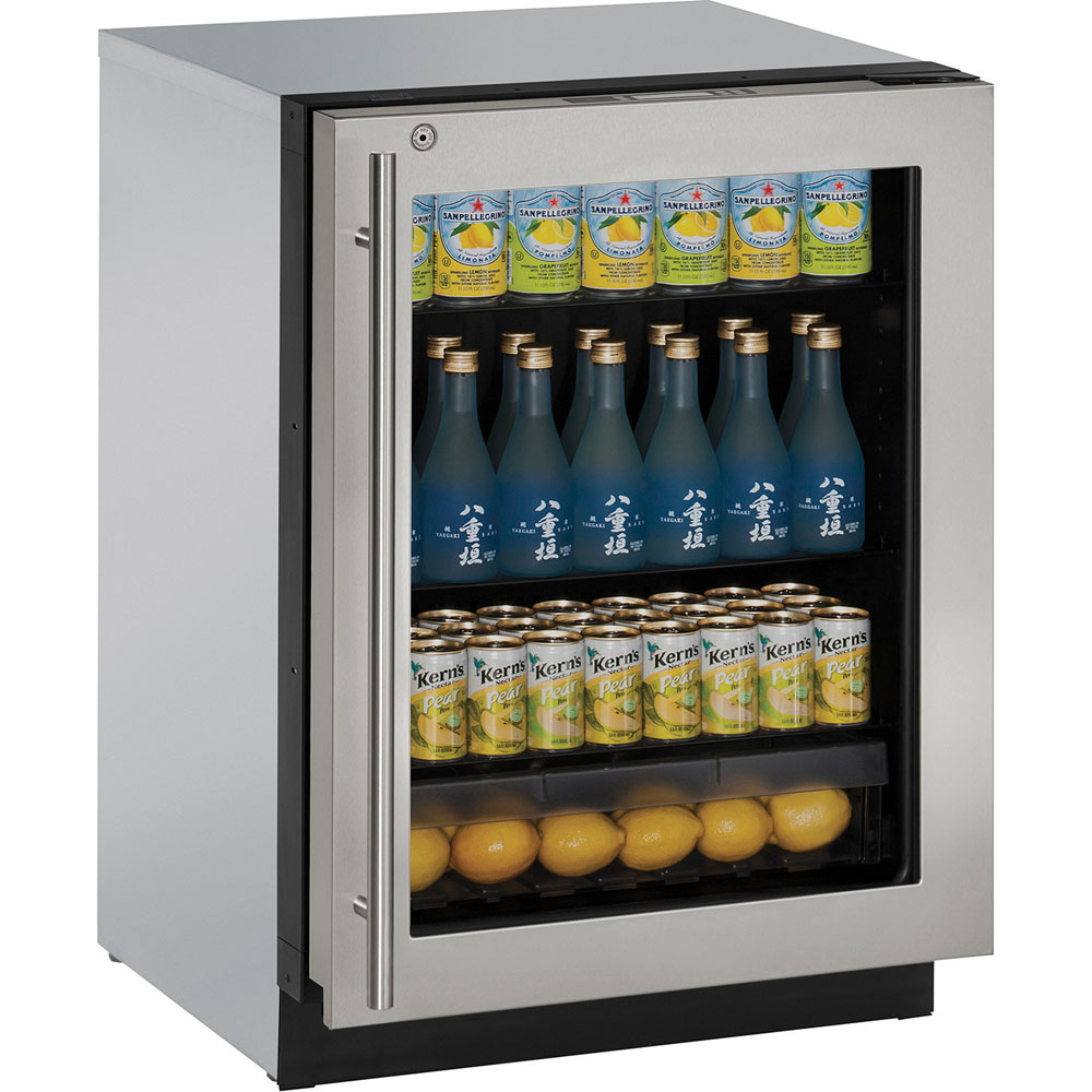 24-In. Modular 3000 Series Stainless Frame Glass Door Refrigerator with Left-Hand Hinge and Lock