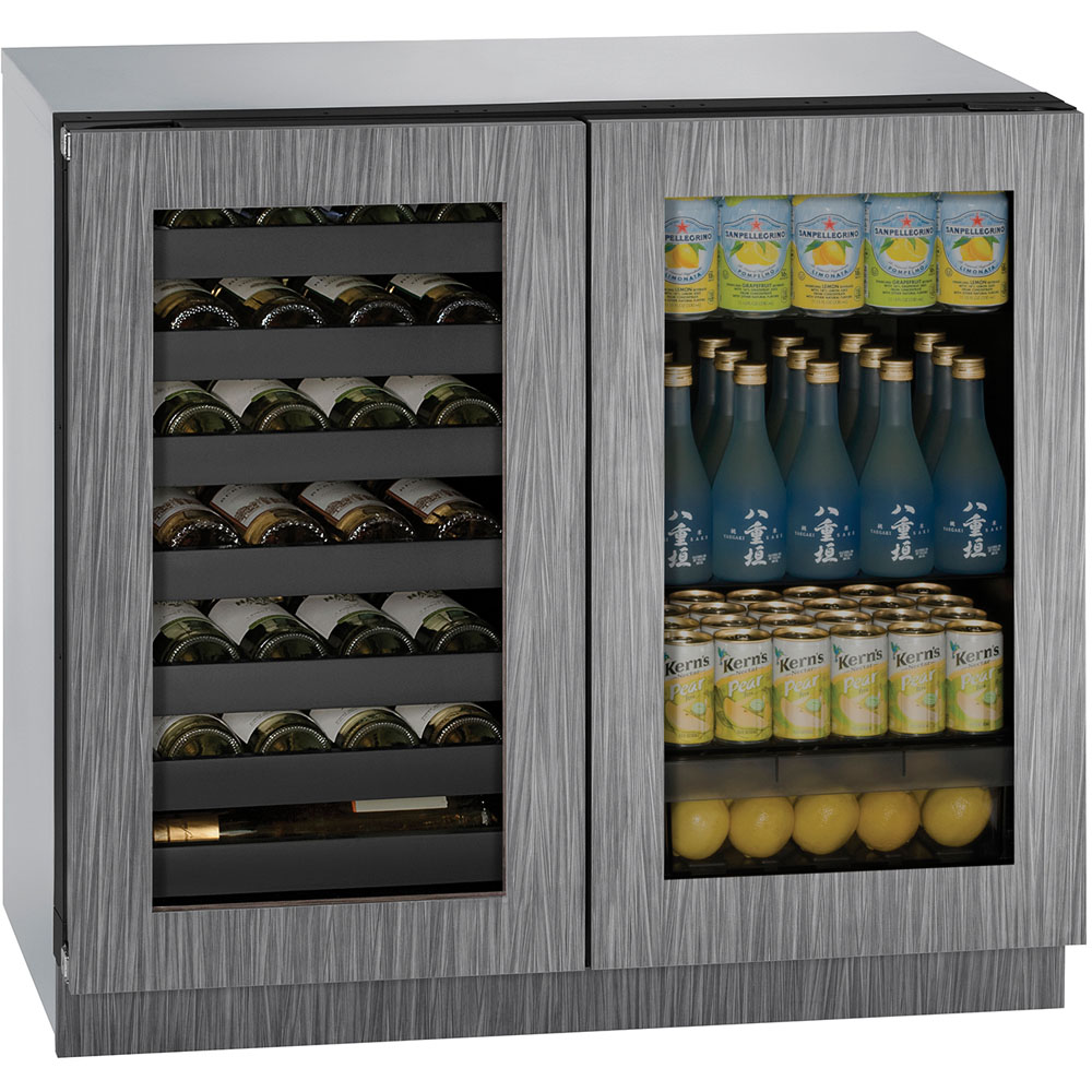 Model: U-3036BVWCINT-00B | 36-in. Modular 3000 Series Double Door Beverage Center with Integrated Frame