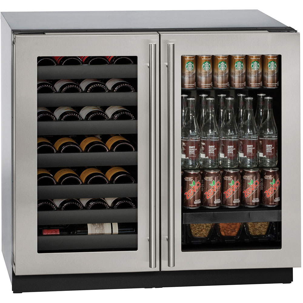 Model: U-3036BVWCS-00B | U-Line 36-in. Modular 3000 Series Double Door Beverage Center with Stainless Frame