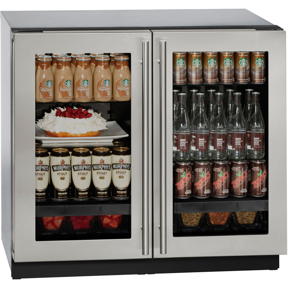 U-Line 36 In. 3000 Series Stainless Double Glass Door Refrigerator with Lock