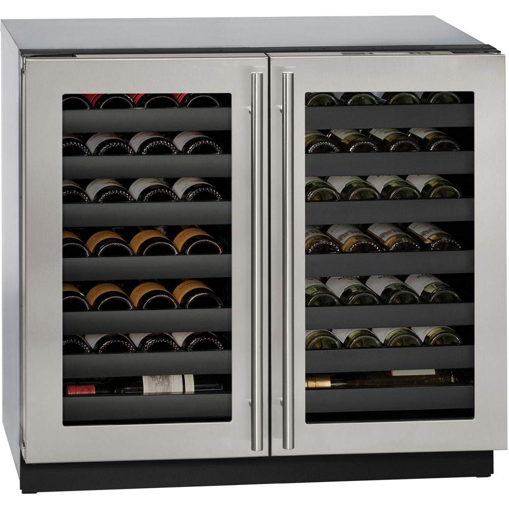Model: U-3036WCWCS-13B | 36-In. Modular 3000 Series Stainless Frame Double-Door Wine Captain Beverage Chiller with Lock
