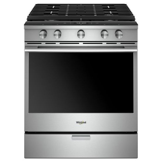 Whirlpool 5.8 Cu. Ft. Smart Contemporary Handle Slide-in Gas Range with EZ-2-Lift™ Hinged Cast-iron Grates