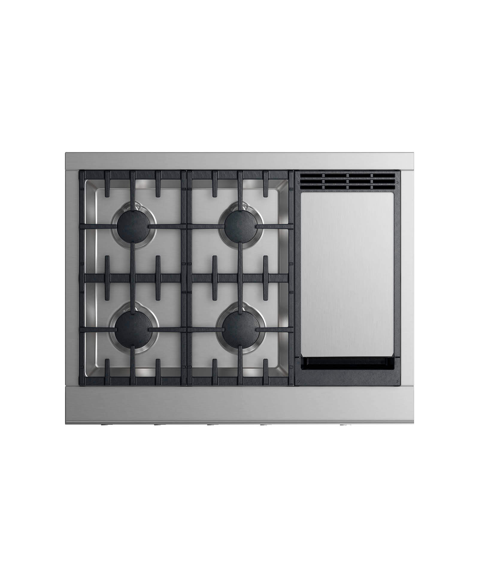 "36"" Professional Cooktop: 4 burners with griddle"