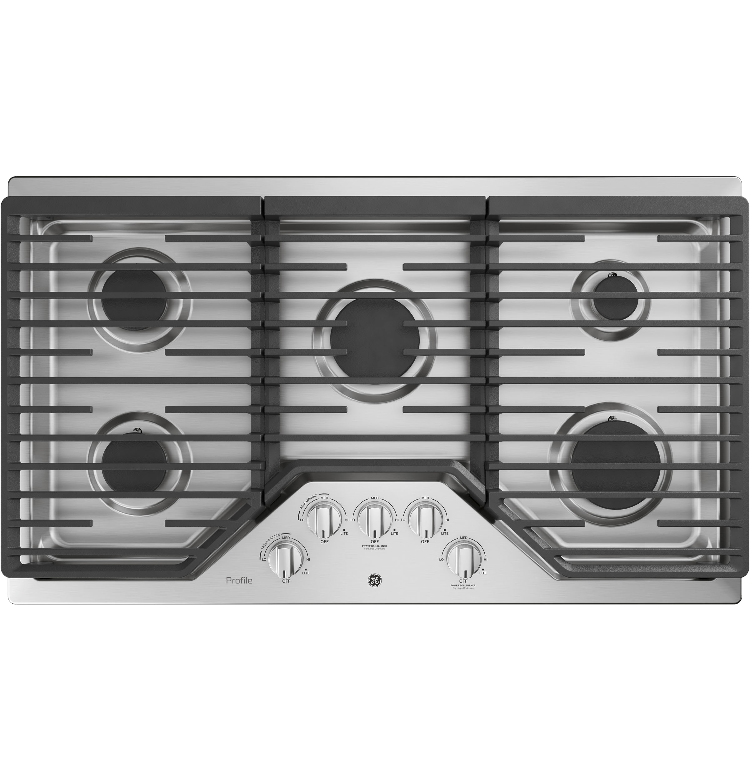 "Profile GE Profile™ 36"" Built-In Gas Cooktop with Optional Extra-Large Cast Iron Griddle"