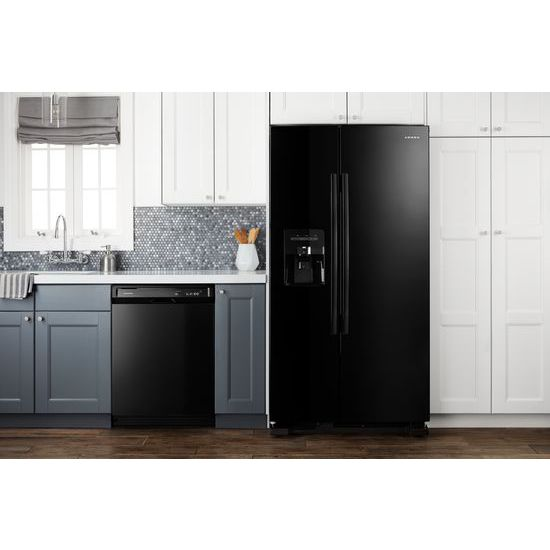 Model: ASI2175GRB | Amana 33-inch Side-by-Side Refrigerator with Dual Pad External Ice and Water Dispenser