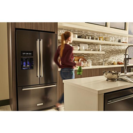 Model: KRFF507HBS | 26.8 cu. ft. 36-Inch Width Standard Depth French Door Refrigerator with Exterior Ice and Water and PrintShield™ Finish