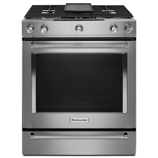 KitchenAid 30-Inch 5-Burner Dual Fuel Convection Slide-In Range with Baking Drawer