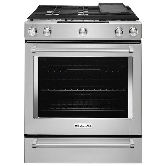Model: KSDB900ESS | KitchenAid 30-Inch 5-Burner Dual Fuel Convection Slide-In Range with Baking Drawer