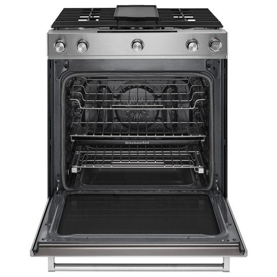 Model: KSDB900ESS | 30-Inch 5-Burner Dual Fuel Convection Slide-In Range with Baking Drawer