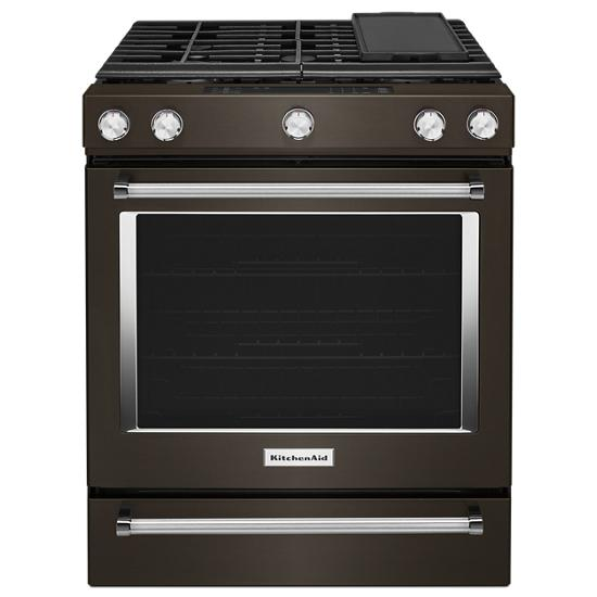 Model: KSGG700EBS | KitchenAid 30-Inch 5-Burner Gas Slide-In Convection Range