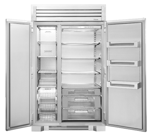 "True   48"" Side By Side Refrigerator/Freezer with Solid Stainless Steel Doors"