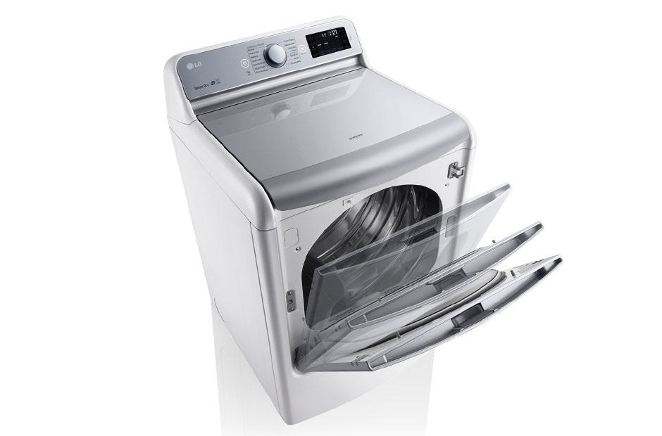Model: DLEX7700WE | 9.0 Cu. Ft. Mega Large Capacity TurboSteam™ Dryer With EasyLoad™ Door