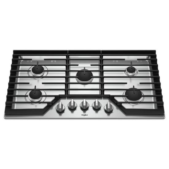 Model: WCG55US6HS | Whirlpool 36-inch Gas Cooktop with EZ-2-Lift™ Hinged Cast-Iron Grates
