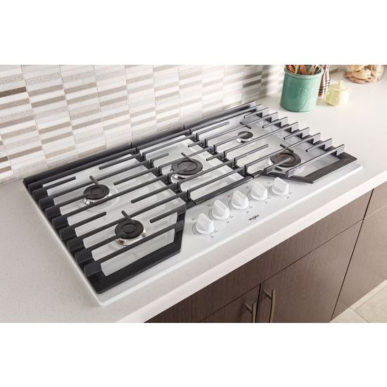 Model: WCG55US6HW | Whirlpool 36-inch Gas Cooktop with EZ-2-Lift™ Hinged Cast-Iron Grates