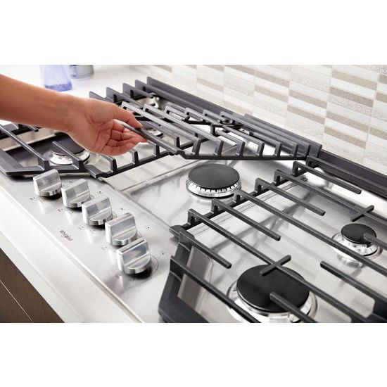 Model: WCG97US6HS | Whirlpool 36-inch Gas Cooktop with Griddle