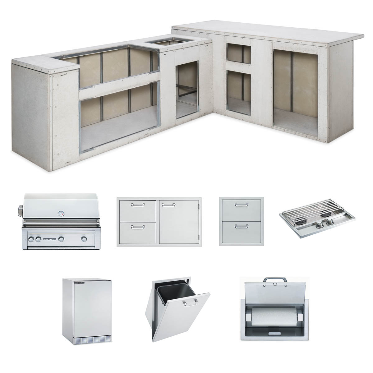 """Lynx RTF Island Package includes: L600 Grill, 36"""" Access Doors, Double Side Burner, Refrigerator, Paper Towel Dispenser, Trash Center, Double Drawers"""
