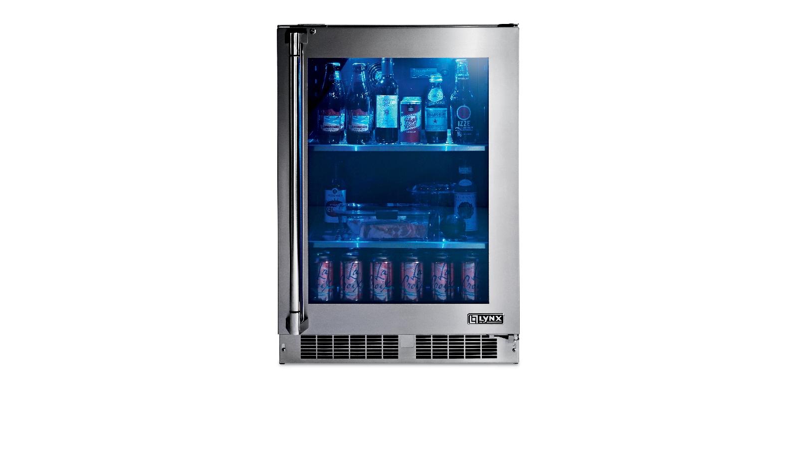 "Lynx 24"" Outdoor Glass Door Refrigerator, Right Hinge"