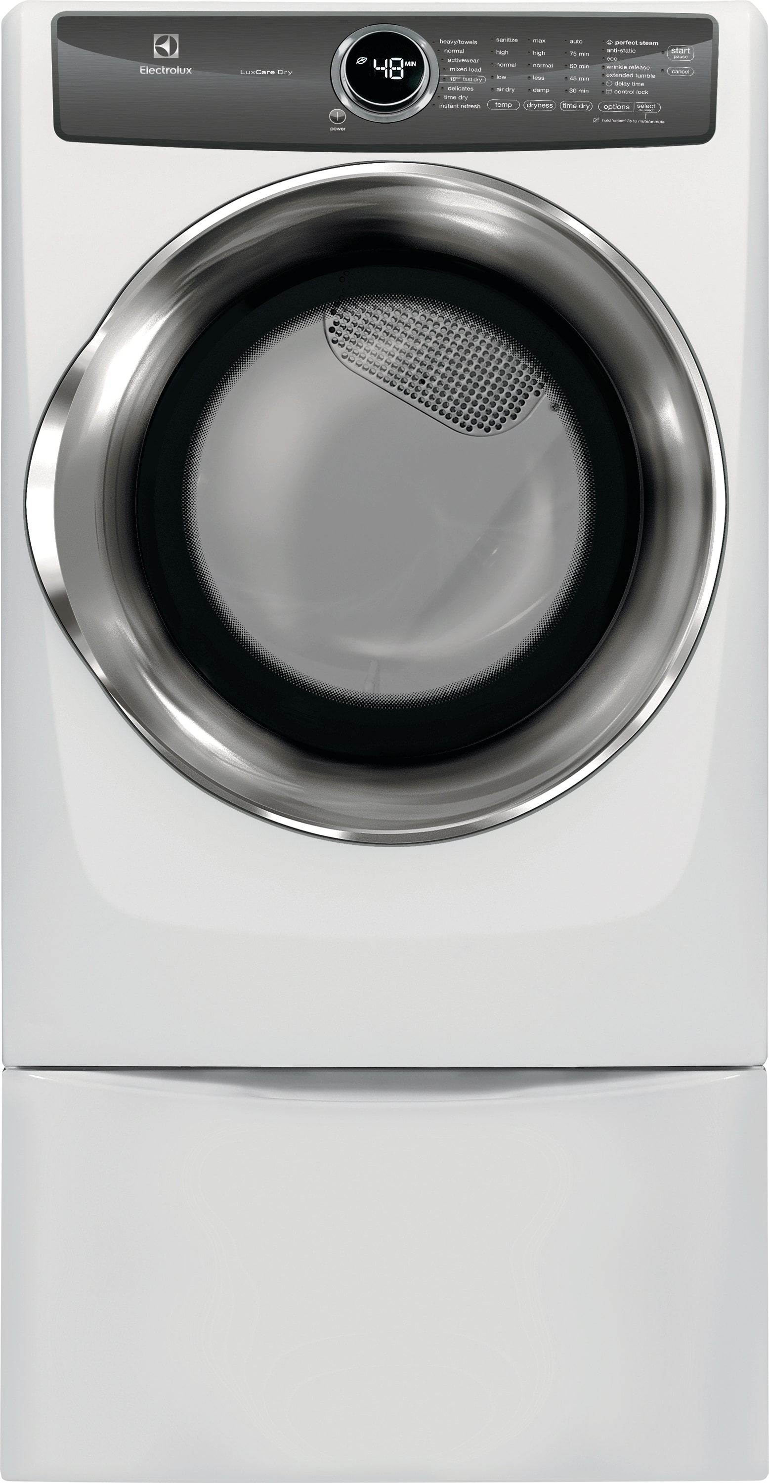 Model: EFME527UIW | Front Load Perfect Steam™ Electric Dryer with LuxCare® Dry and Instant Refresh - 8.0 Cu. Ft.