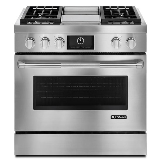 "Jenn-Air Pro-Style® 36"" Dual-Fuel Range with Griddle and MultiMode® Convection"