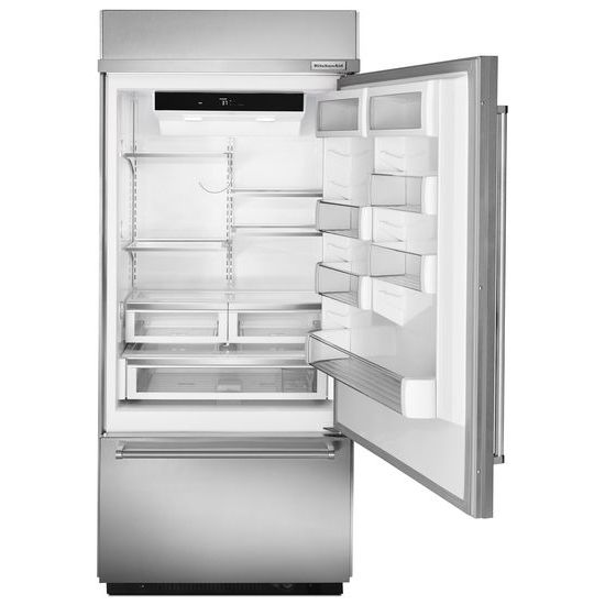 "Model: KBBR206ESS | KitchenAid Built-In Stainless Bottom Mount Refrigerator 20.9 Cu. Ft. 36"" Width"
