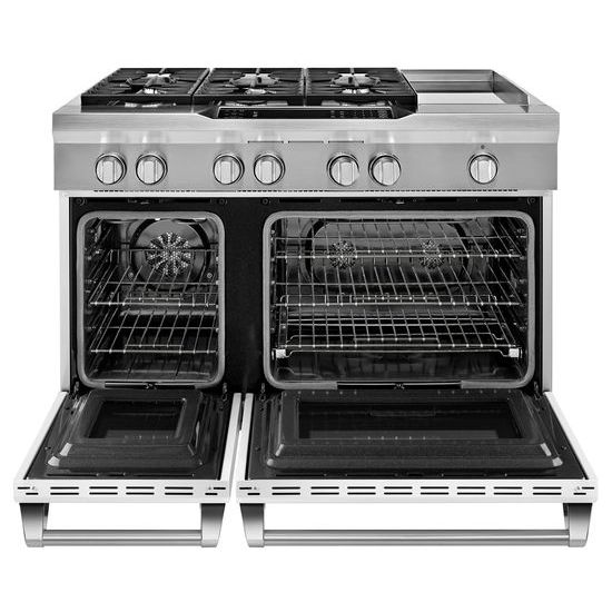 48'' 6-Burner with Griddle, Dual Fuel Freestanding Range, Commercial-Style