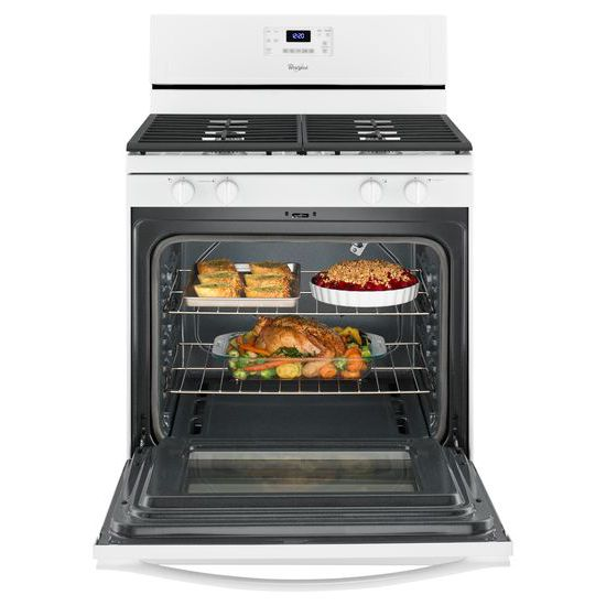 Model: WFG515S0EW | Whirlpool 5.0 Cu. Ft. Freestanding Gas Range with AccuBake® Temperature Management System