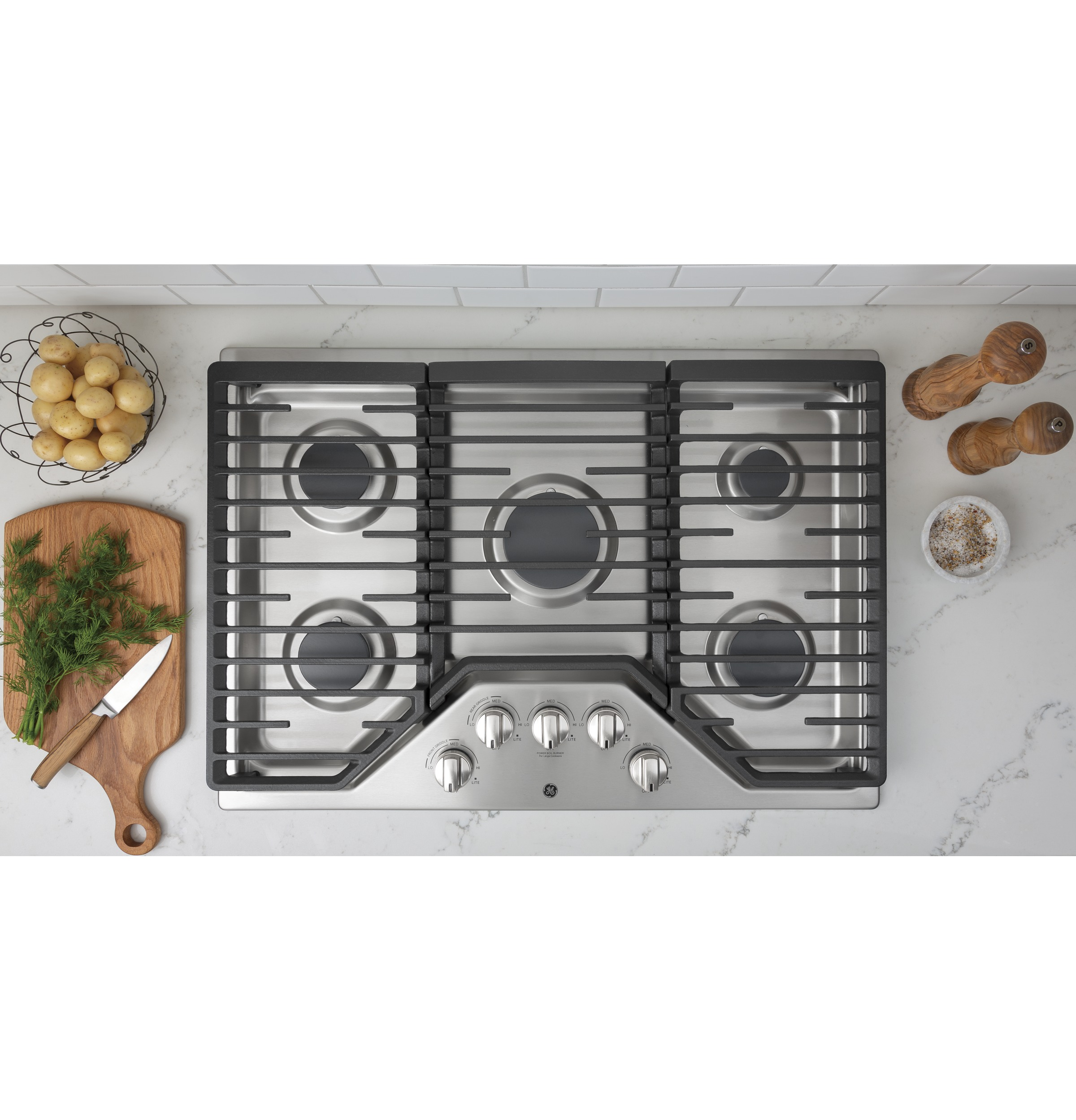 "Model: JGP5030SLSS | GE GE® 30"" Built-In Gas Cooktop with 5 Burners and Dishwasher Safe Grates"