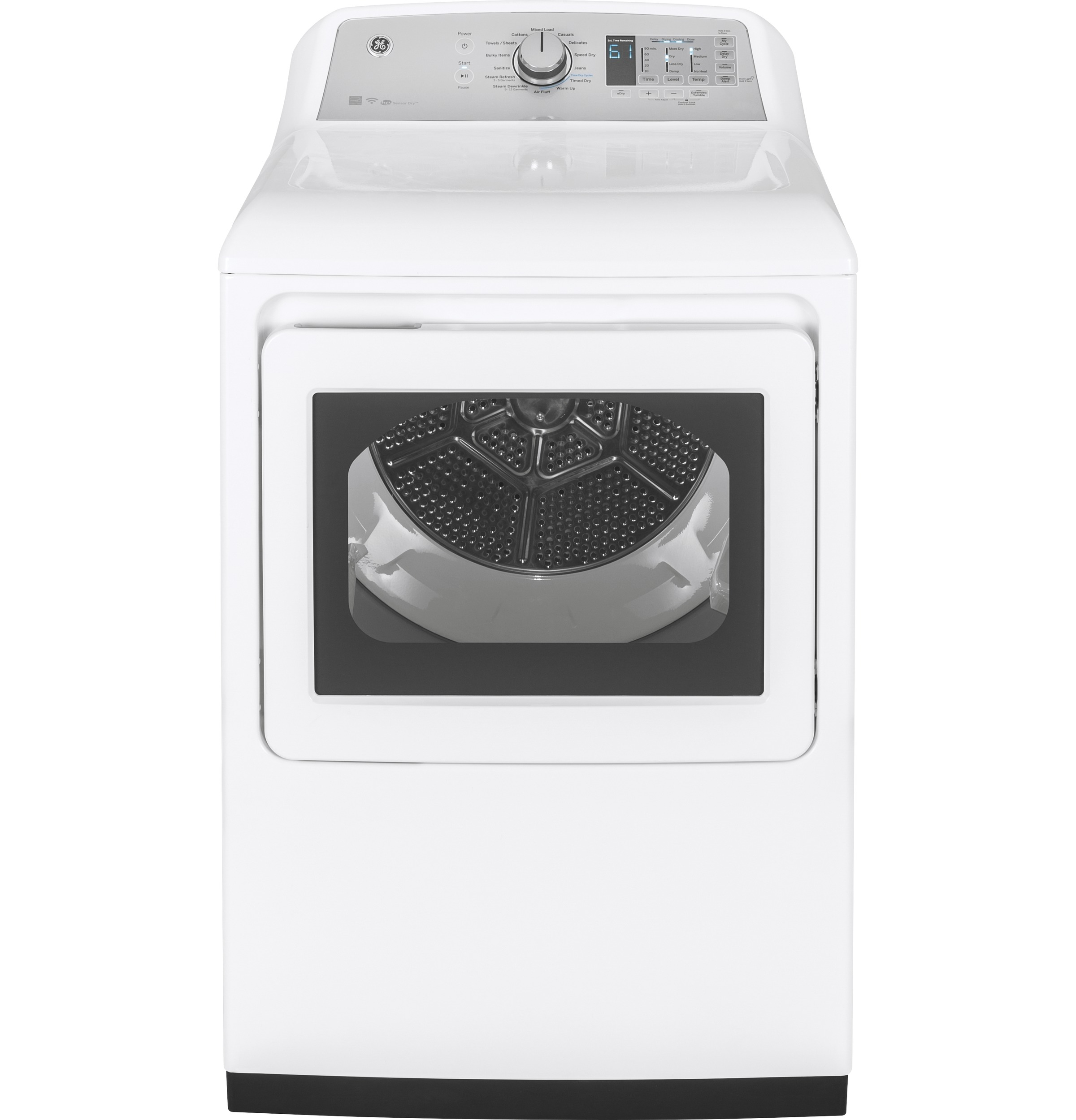 Model: GTD75ECSLWS | GE® 7.4 cu. ft. Capacity aluminized alloy drum Electric Dryer with HE Sensor Dry